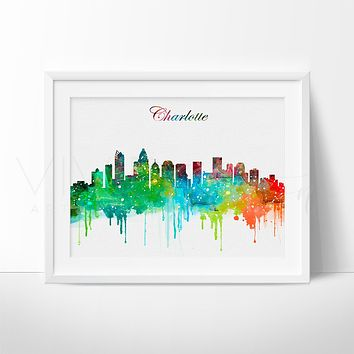 Charlotte, North Carolina Skyline Watercolor Art Print
