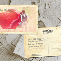 "50 Wedding Save The Date Card - RedHill Vintage Photo Personalized 4""x6"""