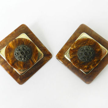 Vintage Faux Tortoise Shell Lucite Earrings, Large Statement Fashion Costume Jewelry