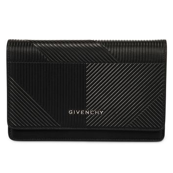 Givenchy Pandora Black Embossed Leather Chain Wallet