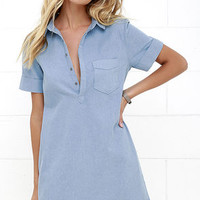 Friday Luncheon Light Blue Chambray Shirt Dress