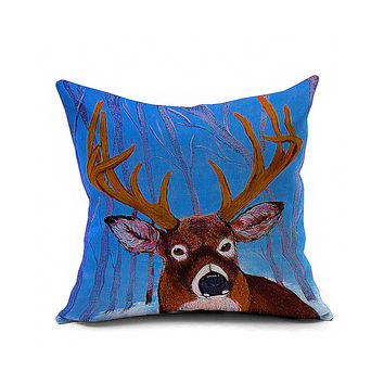 Cotton Flax Pillow Cushion Cover Animal   DW075