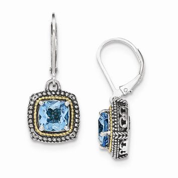 14K Two-Tone Gold Sterling Silver w/14k Lt Swiss Blue Topaz Leverback Earrings