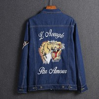 One-nice™ GUCCI Embroidery Tiger Fashion Long Sleeve Denim Cardigan Jacket Coat