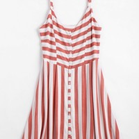 Button Up Stripes Casual Dress