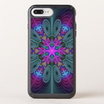 Mandala From Center Colorful Fractal Art With Pink Speck iPhone Case