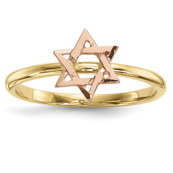 14k Two-tone Polished Star of David Ring
