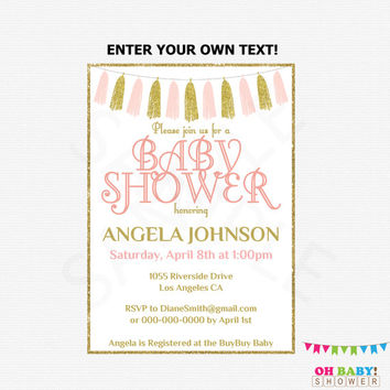 Pink and Gold Baby Shower Invitation, Editable Baby Shower Invitation, Girl Baby Shower Printable Invitation, Invites Instant Download TASPG