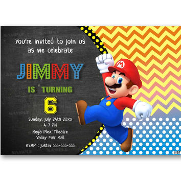 Chalkboard Super Mario Chevron Polka Dot Kids Birthday Invitation Party Design