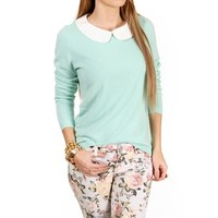 SALE-Mint/White Peter Pan Collar Top