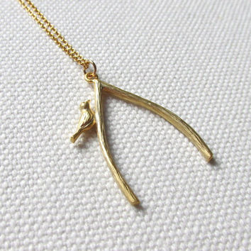 Gold Wishbone Necklace Bird and Twig Necklace Modern Jewellery Choose Gold Plate or Filled Chain Nature Jewelry