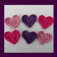 6 medium purple, pink and cerise crochet hearts, appliques and embellishments