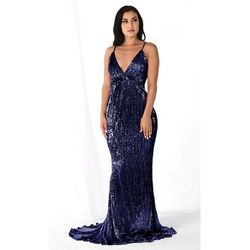 Fire and Ice Navy Blue Sequin Sleeveless Spaghetti Strap Plunge V Neck Mermaid Backless Maxi Dress Gown