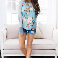 Peony Player Knit Jersey Elbow Patch Top (Blue)
