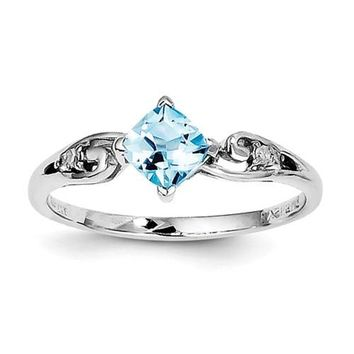 Sterling Silver Diamond And Sky Blue Topaz Cushion Cut Ring