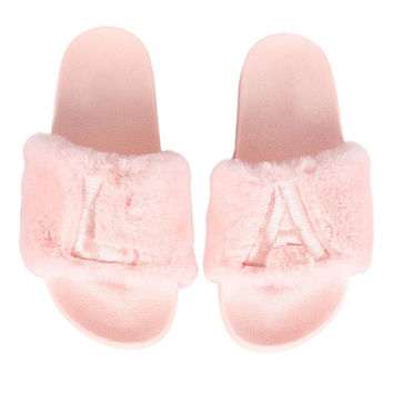 La La Land Faux Fur Slide Sandals