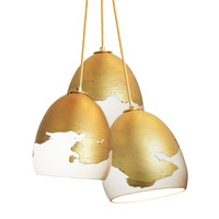Matte White Porcelain Brass Ombre Globe Clay Pendant Chandelier