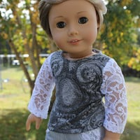 18 inch doll clothes, lace sleeve shirt and boot cut jeans, american girl ,maplelea