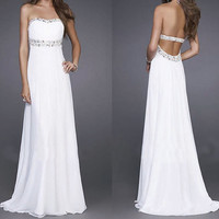 strapless sexy back less evening prom dress/white dress/chiffon dress