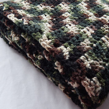 Green Camo Baby Blanket Unisex Crochet Camouflage Lap Blanket Boy or Girl Crochet Throw Blanket