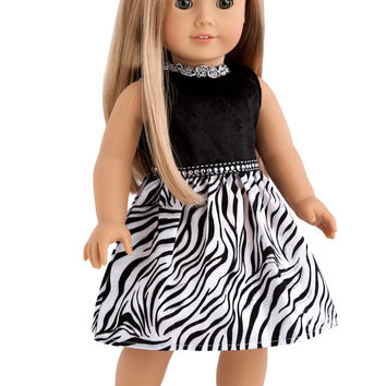 Wild Party - Clothes for 18 inch Doll - Zebra Party Dress with matching Shoes and Head Bow