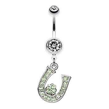 Jeweled Four Leaf Clover on Horseshoe WildKlass Belly Button Ring