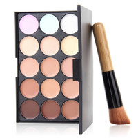 1Set 15 Colors Contour Palette Face Cream Makeup Party Concealer Palette  + Makeup Powder Brush Hot Sale!