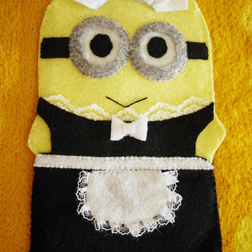 Handmade Felt French Maid Minions (PHIL) Iphone Case/ Bag - Despicable Me