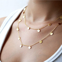 New Arrival Fashion Stylish Chain Double-layered Necklace = 4831076996