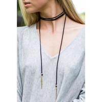 Weighted Love Black Wrap Necklace