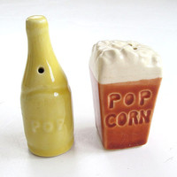 For the Movie Lover.....Vintage Salt & Pepper Shaker POPCORN  and SODA POP