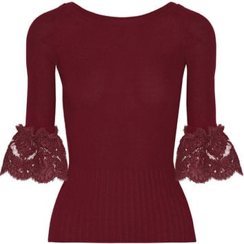 Oscar de la Renta - Corded lace-trimmed ribbed merino wool top