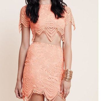 DCCKH3F CUTE TWO PIECE LACE DRESS HIGH QUALITY