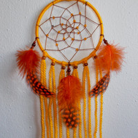 2.8 inch Yellow Dreamcatcher with Orange Feathers - Car Rear View Mirror Decor - Hippie Boho Dream Catcher - Wall Hanging Nursery Room Decor