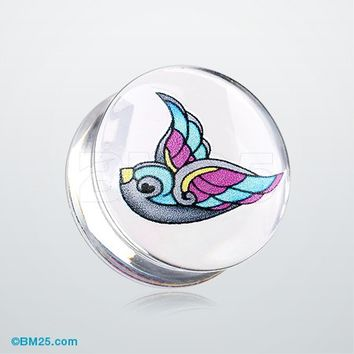 A Pair of Flying Swallow Clear UV Double Flared Ear Gauge Plug