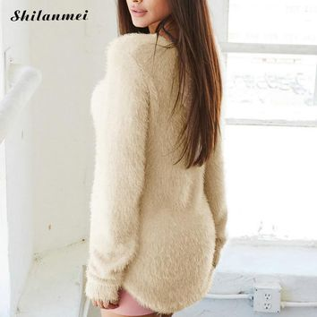 Cotton Winter Fluffy Sweater Women Pullover Warm Sweater Sexy Causal Knitwear Jumper Top pulover robe pull Plus Size XL 2017