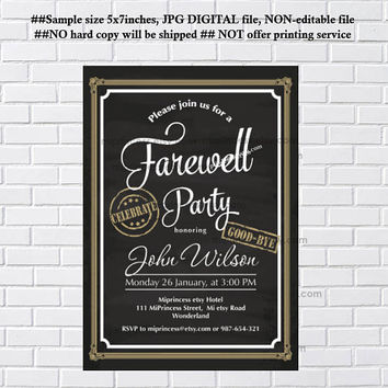 Farewell party Invitations, Farewell dinner Invitation, Retirement  or farewell Celebration retro vintage Invite, chalkboard - card 1187
