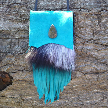 Large Medicine Bag, Native American Style, Turquoise Goatskin Leather, Silver Fox Pelt, Jasper Cabochon, Deerskin Lace Necklace