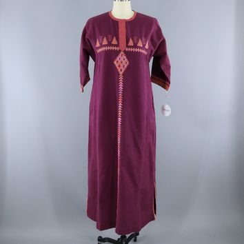 Vintage 1970s Embroidered Purple Cotton Caftan Dress / Kasida India