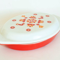 Red Pyrex Friendship Casserole Divided Dish with Milk Glass Lid, Birds, Oval Dish 1 Quart