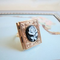 Gold Book Locket Ring Vintage Black and White Rose Cameo Adjustable