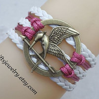 Burning Girl,mocking jay bracelet,hunger bird,games jewelry,charm,white and red,Leather Bracelet,Friendship Gift