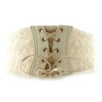ZLYC Women's Vintage Lace Up Elastic Wide Belt Sweet Lace Corset Belt (Beige)