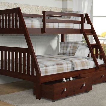 Ian Modern Dark Wood Twin over Full Bunk Bed with Storage
