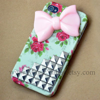 Pink Bow Iphone 4 case, Iphone 4S case, Silver stud Iphone 4 case with Pink bow, Vintage Flower Iphone 4 case