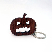 Carved Pumpkin Wooden Keychain, Walnut Wood, Halloween Keychain, Holiday Keychain, Friendly Green materials