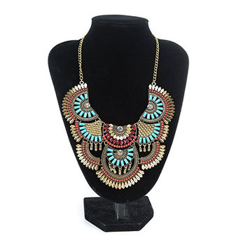 Womens Vintage Alloy Silver/Gold Boho Bohemian Necklace Ethnic Tribal Boho Necklace Turquoise Beads Crystal Necklace - FREE SHIPPING