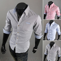 Plaid Outline Button Down Cropped Sleeve Shirt