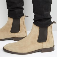 ASOS | ASOS Chelsea Boots in Stone Suede With Back Pull at ASOS