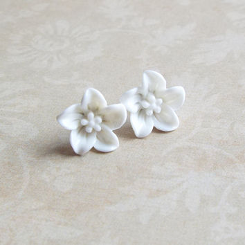 White Lily Flower Earrings Post Studs